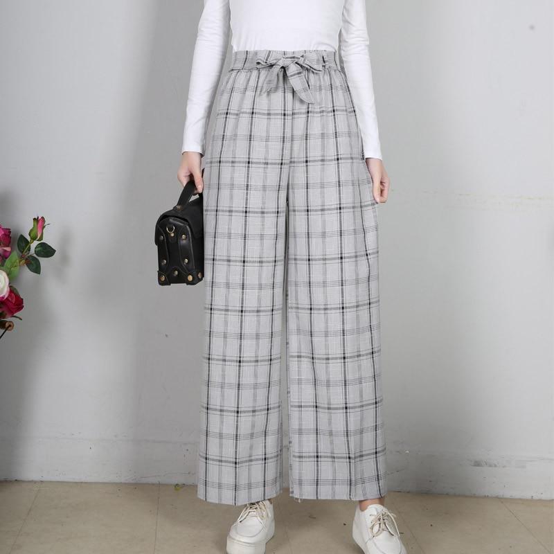 LZMZA New Fashion Spring Plaid   Pants   Women High Waist Work OL   Wide     Leg     Pants   Trousers Streetwear Capris Thin 2019 Summer   Pants