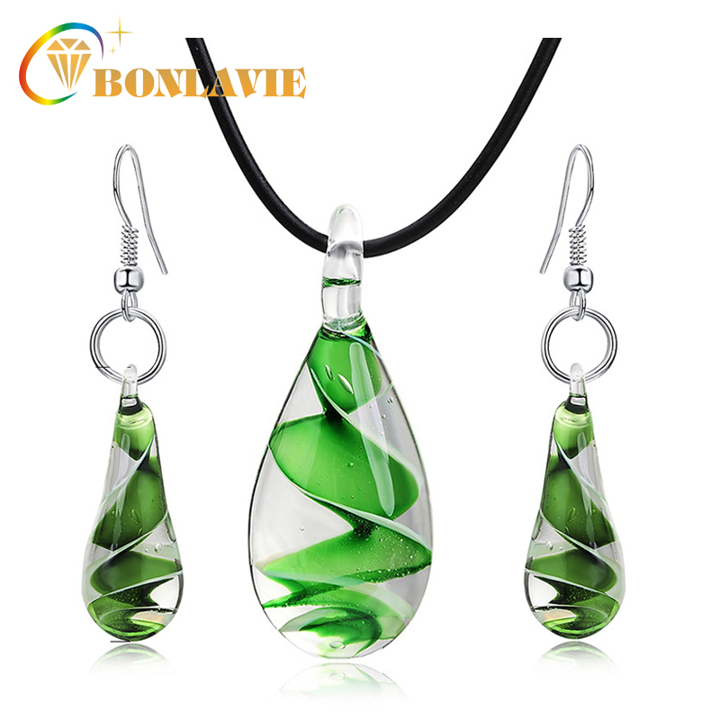 Multicolor Glass Rope Women Jewelry Set 2017 New Spiral Water Drop Earrings Necklace Set Fashion Brand Jewelry