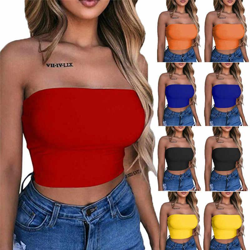 Sexy femmes Bustier Crop hauts réservoirs été 2019 nouvelles dames sans manches épaule dénudée Camisole Femme Camis noir blanc rouge Outwear