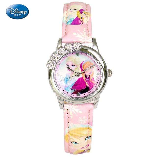 Disney Brand Children's Watches Snow Ice Romance Students Watch Princess Aishaanna Quartz Watch Genuine Leather Logo Waterproof