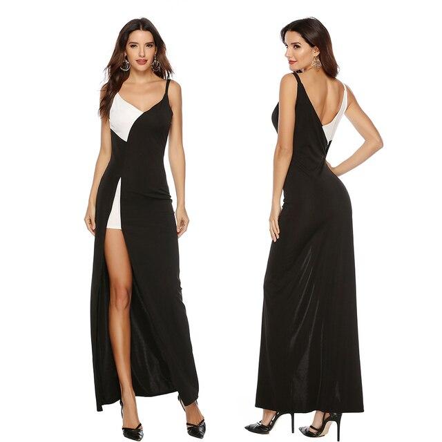 2019 hot sell women sexy black white V-neck dress women slim patchwork backless dress women spaghetti strap dress