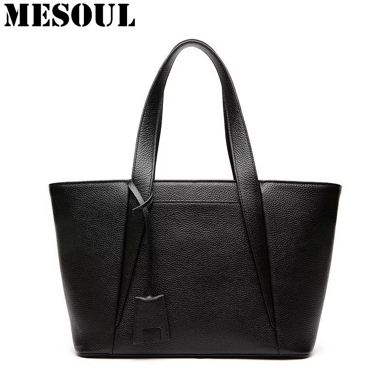 Women Shoulder Bags Genuine Leather Bag Office Casual Tote High Quality Big Capacity Female Classic Simple