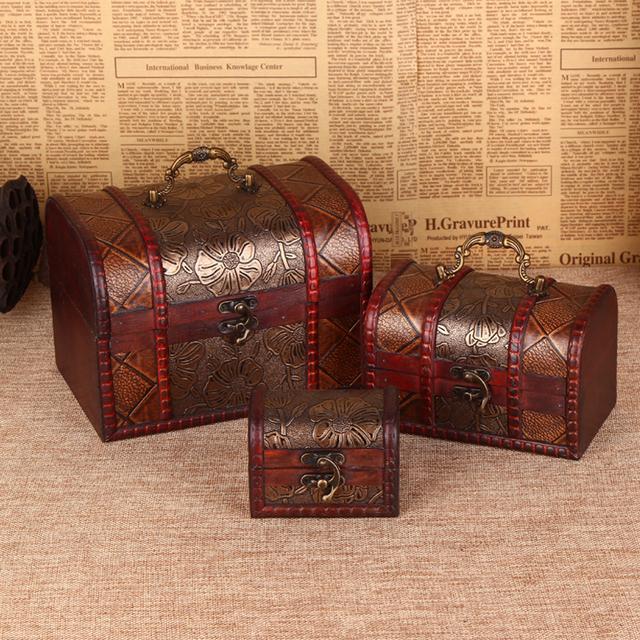 Baules de madera Vintage tres piezas de organizador creativo