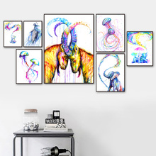 Watercolor Eagle Elephant jellyfish Antelope Deer Whale Bear Wall Art Canvas Painting Nordic Posters And Print Animal Decor