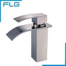 FLG бортике Никель Матовый водопад кран для ванной комнаты, одной Ручкой Медь ванной бассейна кран смесителя(China (Mainland))