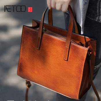 AETOO Retro wipe color to do the old handmade leather plastic leather hand bag shoulder Messenger bag simple casual ladies women