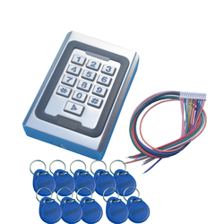 Rfid Metal Access Control Keypad With Waterproof Cover Contactless Door Controller Electric Security Lock+10pcs 125KHz Keychains