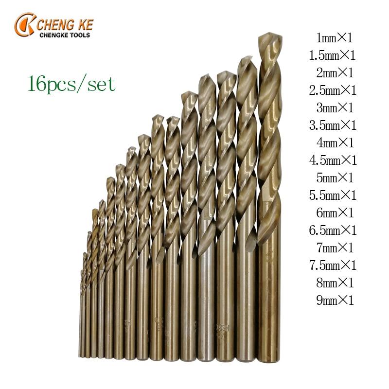 Cobalt Drill Bit Set >> CHENG KE 16Pcs/Set twist drill bit all size 1mm 9mm 16 ...
