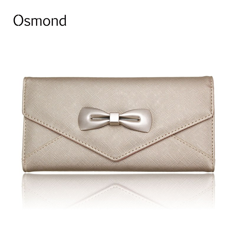 Osmond Women Long Wallet PU Leather Wallets Bowknot Pattern Lady Coin Purse Embossed Solid Card Holder Female Clutch Phone Bag auau soft leather women wallets bowknot clutch bag long pu card purse wallet for womens rose red