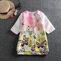 Roupas 2017 roupas de marca crianças meninas roupas da menina da criança (jacket + dress) modo de impressão enfant meninas roupas crianças conjuntos