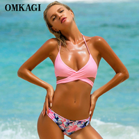 OMKAGI Brand Bikinis Women 2017 Swimwear Women Swimsuit Sexy Bandage Push Up Bikini Set Swimming Suit
