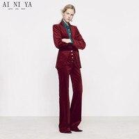 Бордовые бархатные женские деловые костюмы брюки с высокой талией женские офисные форменные строгие женские элегантные комплекты трусов п