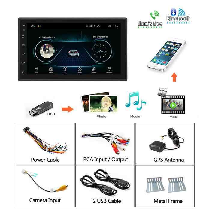"Podofo Android 2 Din coche radio Video Multimedia Player navegación GPS 2 din 7 ""HD Universal auto Audio estéreo wiFI Bluetooth USB"