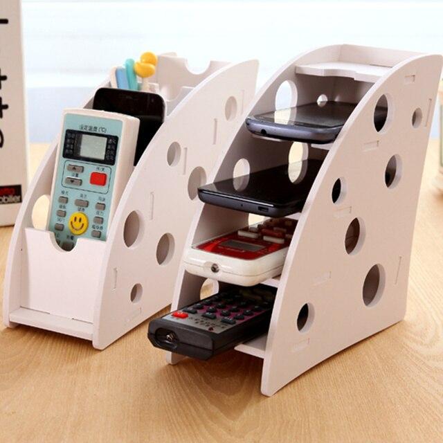 DIY Wooden Desk Remote Controller Storage Box TV DVD VCR Step Mobile Phone  Holder Stand Stationery