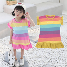 Baby Girl Dress Kids Children Dress Girls short sleeve Dress Soft Cotton Summer T-shirt Dresses Baby Girls Clothes 2019 Summer цена в Москве и Питере