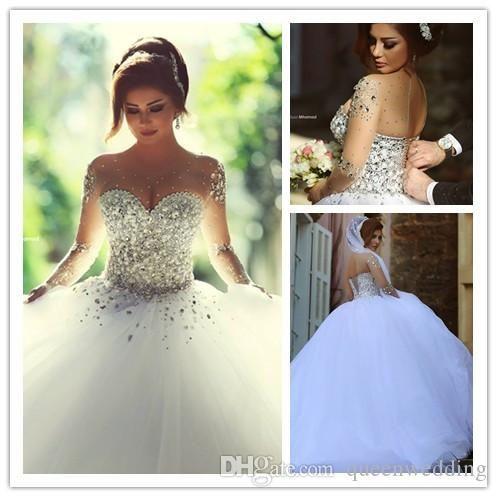 Popular Sheer Sweetheart Crystal Ball Gown Wedding Dresses-Buy ...