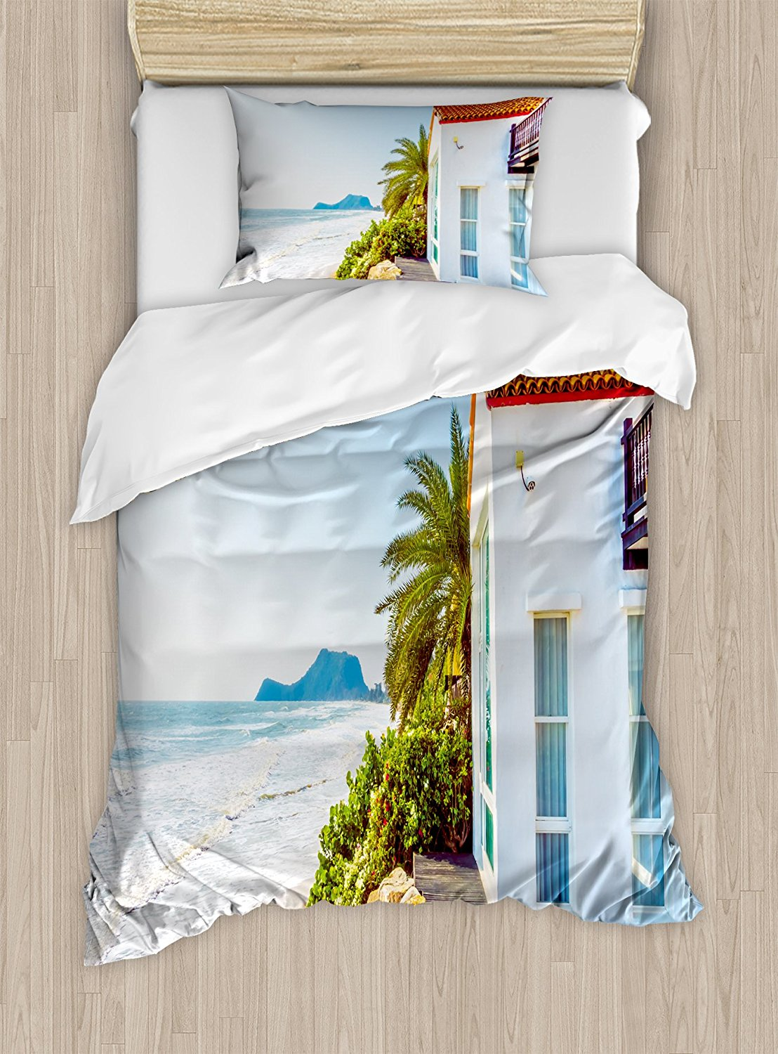 Us 115 23 42 Off Ocean Duvet Cover Set Coastal Charm Themed Beach House Porch View Moroccan Style Architecture Island Artsy Decor Bedding Set In