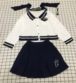 New Fashion Japanese Style Navy Back Long Sleeved Women Shirts + Short Pleated Skirt Suit (shirt + Skirt) 0222