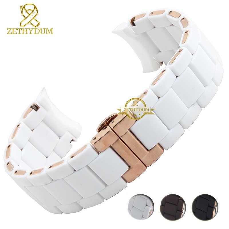 סיליקון גומי רצועת השעון סיליקון צמיד צמיד עלה זהב אבזם עבור AR5905 AR5906 AR5919 AR5920 20 23mm צפו בנד רצועה