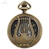 KS Retro Musical Harp Black Watch Antique Copper Men Orologio Uomo Necklace Clock Hollow Elegent Mechanical