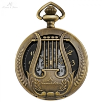 KS Retro Musical harp Black Watch Antique Copper Men Orologio Uomo Necklace Clock Hollow Elegent Mechanical Pocket Watch /KSP114