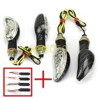 Universal Motorcycle Flashing LED Turn Signal 4x Amber Indicator Lights With 12V Resistor Winker Carbon Lamp