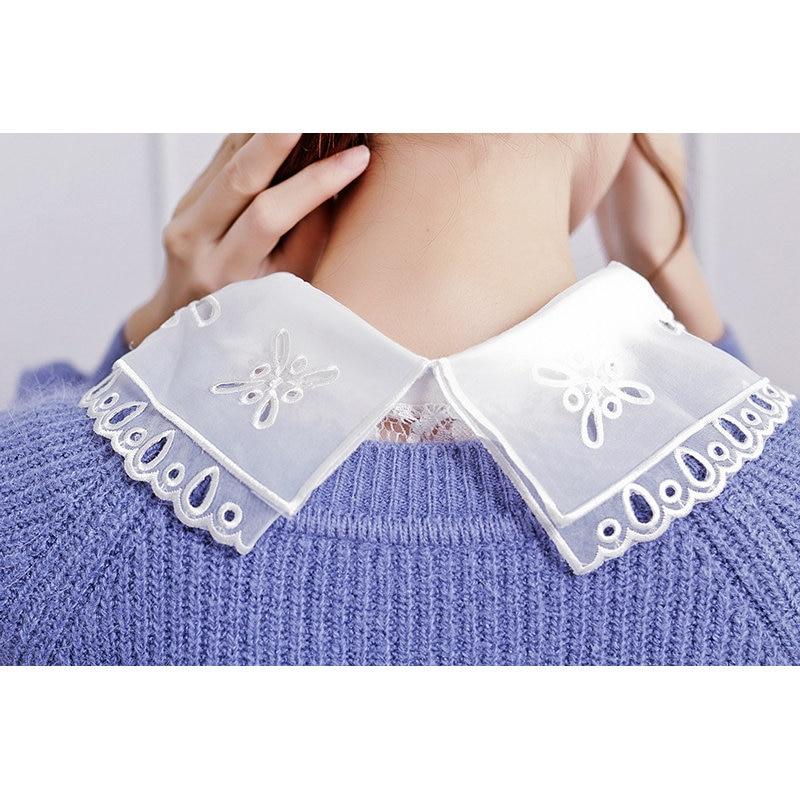 Half Shirt Style Blouse Detachable Women Girls Chic Faux Fake Lapel Shirt Collar Detachable Womens Accessories Neck Decor Lace