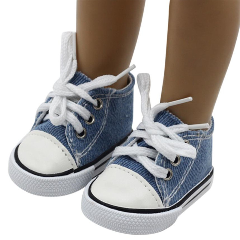2018 NEW Canvas Lace Up Sneakers Shoes For 18 inch Our Generation American Girl & Boy Doll Dropshipping Wholesaling retailing K3