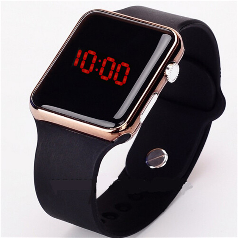 2017 new hot Square Mirror Face Silicone Band Digital Watch Red LED Watches Metal frame WristWatch