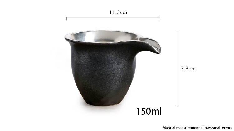 150 ml Vintage fait à la main en céramique japonaise poterie en métal argent Justice tasse chinois Kung Fu thé ensemble juste tasse thé boisson