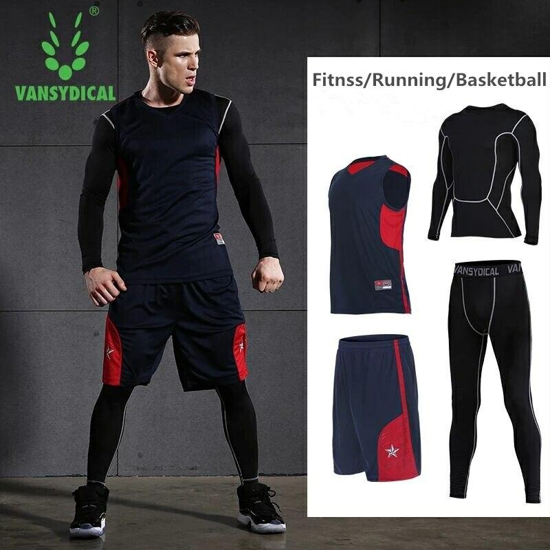 Vansydical hommes Sport costume 4 pièces Fitness Sportswear basket football maillot séchage rapide survêtements course ensemble Jogging costumes hommes