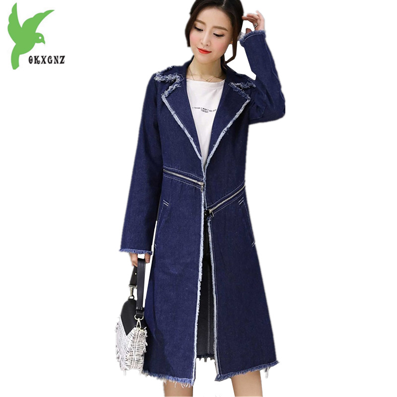 New Women's spring autumn denim   trench   coats fashion Plus size female Slim cowboy Outerwear Two kinds Method can wear OKXGNZ1424
