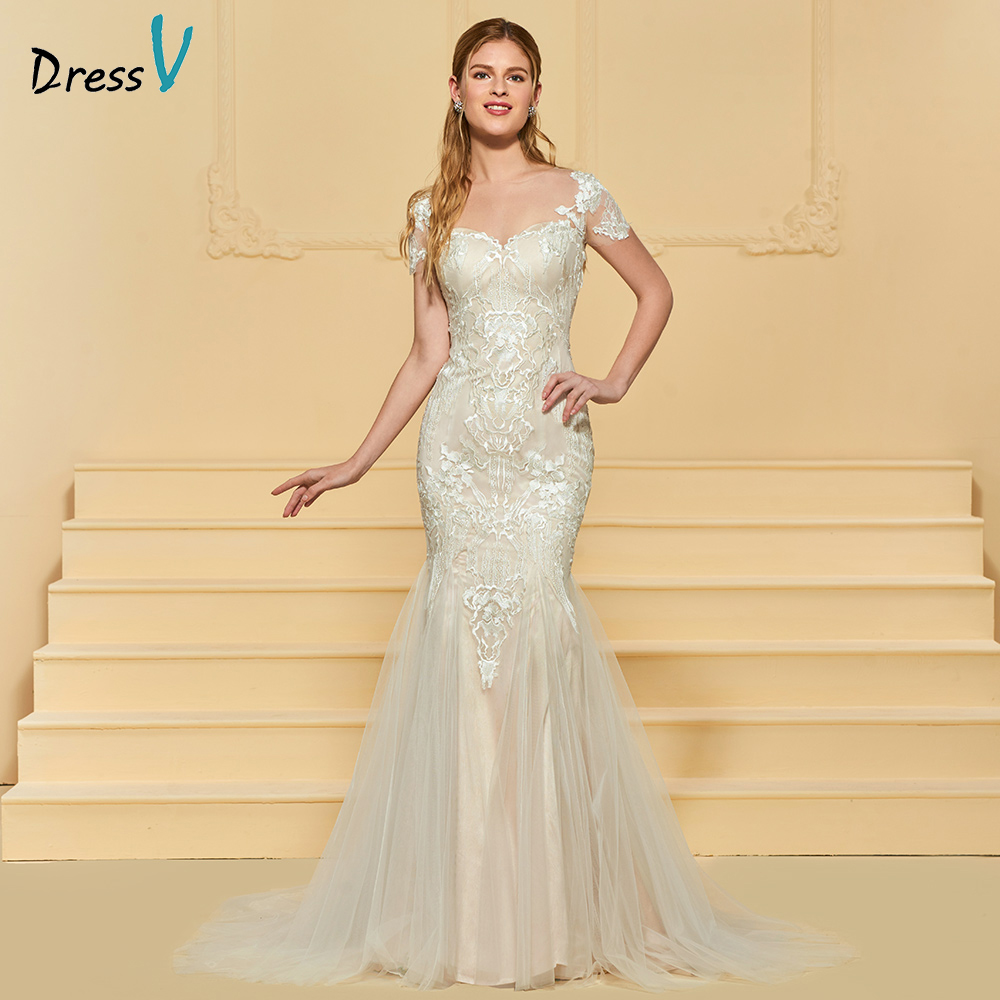 Elegant Lace Sleeve Short Wedding Dresses 2016 Scoop Neck: Dressv Elegant Mermaid Wedding Dress Scoop Neck Short