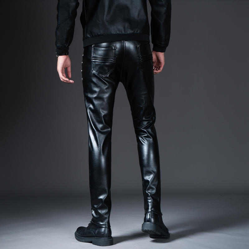New Winter Spring Men's Skinny Leather Pants Fashion Faux Leather Trousers For Male Trouser Stage Club Wear Biker Pants 20
