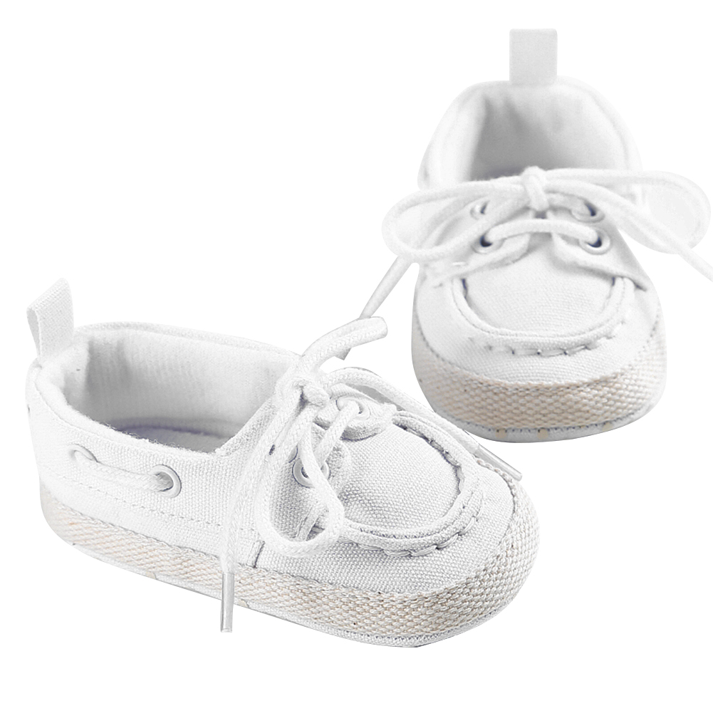 Baby Shoes Boys Girls White Bind Soft Soles Canvas Shoes