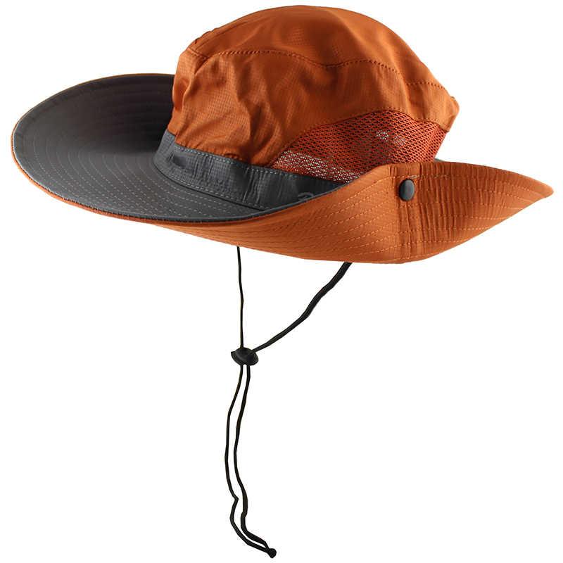 Impermeable UPF 50 + sol sombrero verano hombres mujeres pesca Boonie sombrero Sun UV protección borde ancho grande bob de senderismo al aire libre