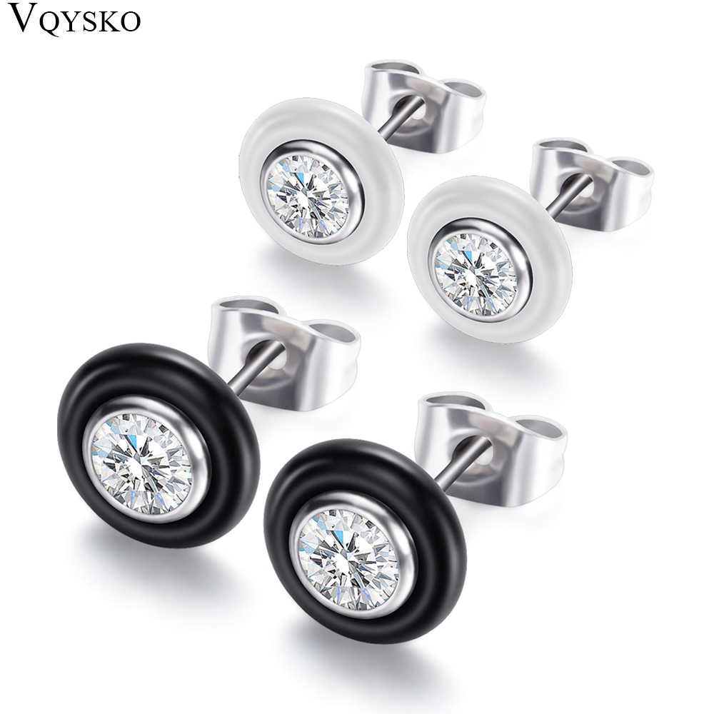 Fashion Wedding Bijoux Black White Ceramic Stud Earrings For Women With Big Carat AAA Health Ceramic Round Zirconia Earrings