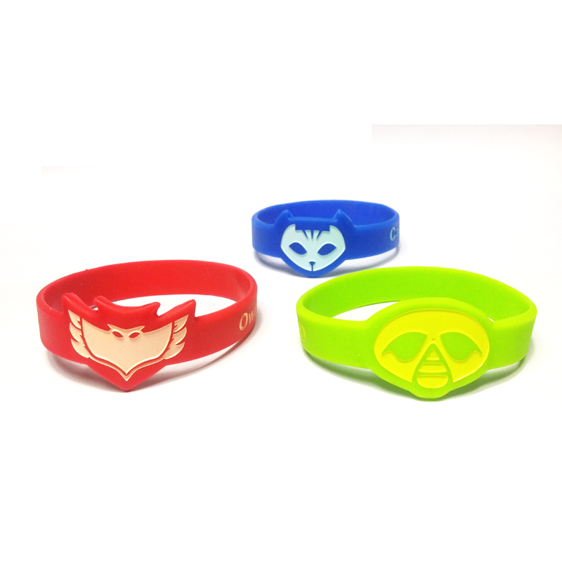 3pcs mixed color pj masks owlette silicone wristband bracelet wrist band party decoration green blue red - Support Our Troops Silicone Bracelet