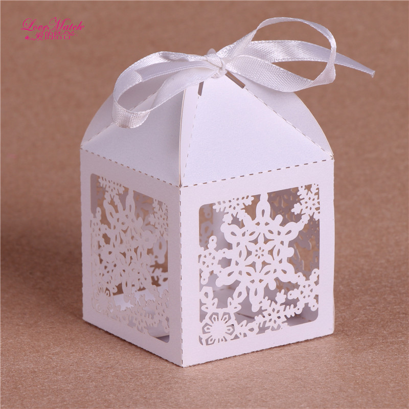 ᗚ50 Pcs Snowflake Laser Cut Candy Box Wedding Favors and Gifts for ...
