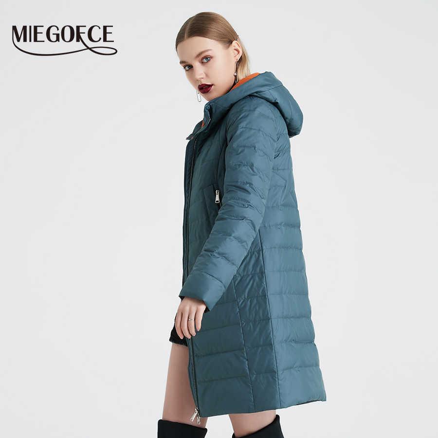 Miegofce 2020 Mùa Xuân Và Mùa Thu Áo Khoác Nữ Cotton Chống Gió Mũ Nữ Áo Khoác Gió Thời Trang Mỏng Phần Áo Khoác Nữ Thiết Kế Mới