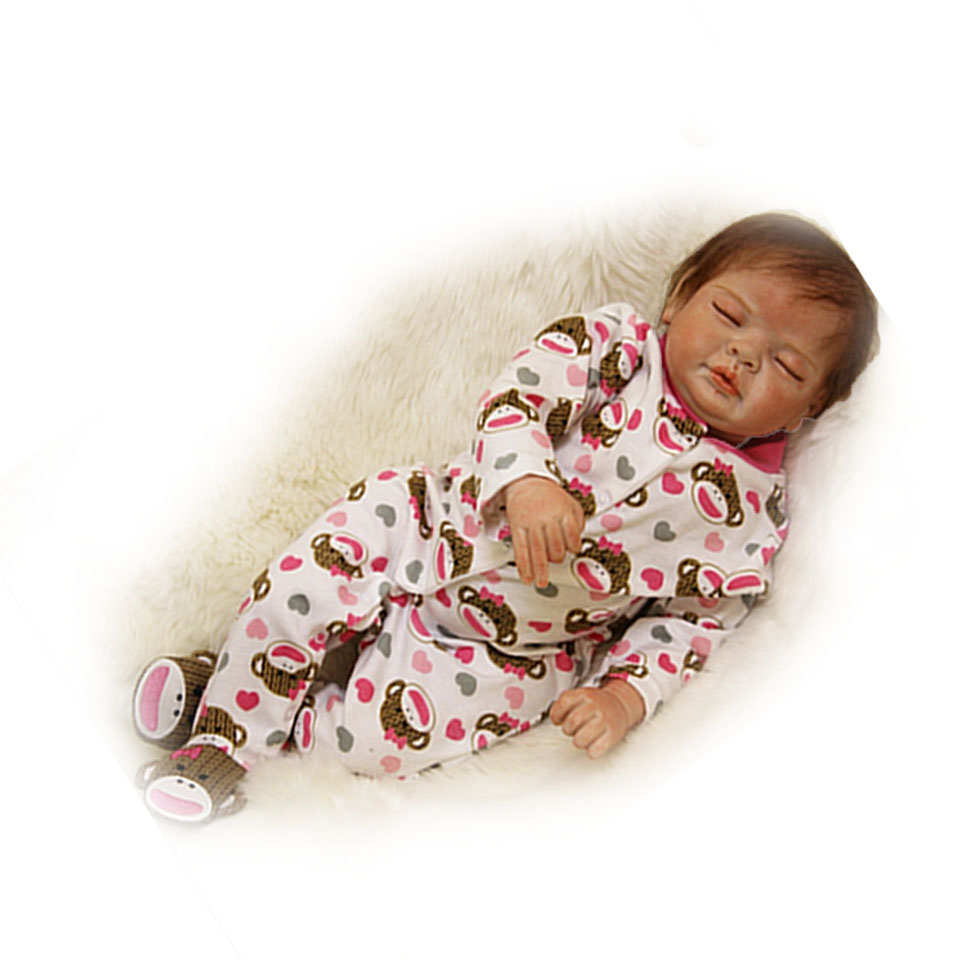 Stylish Reborn Baby Dolls Silicone Touch Soft 22 inch Realistic Baby Alive doll Looks Real Sleeping Bonecas Special Fashion Gift baby touch busy baby cd