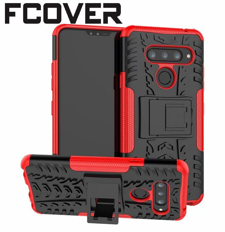 For LG V40 ThinQ Case+Tempered Glass Hybrid Armor TPU Heavy Duty Stand Hard Back Silicon Cover