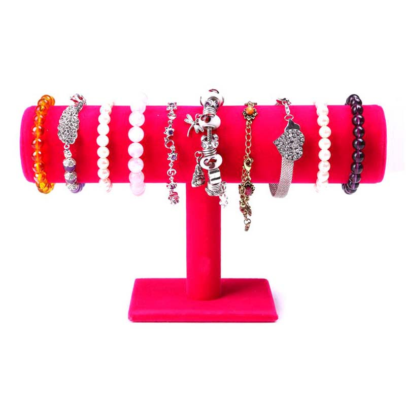 Free Shipping Wood Velvet Expositores Fashion Jewelry Display Stand Holder For Bracelets Bangle Watch Chains Hanging T Bar Rack