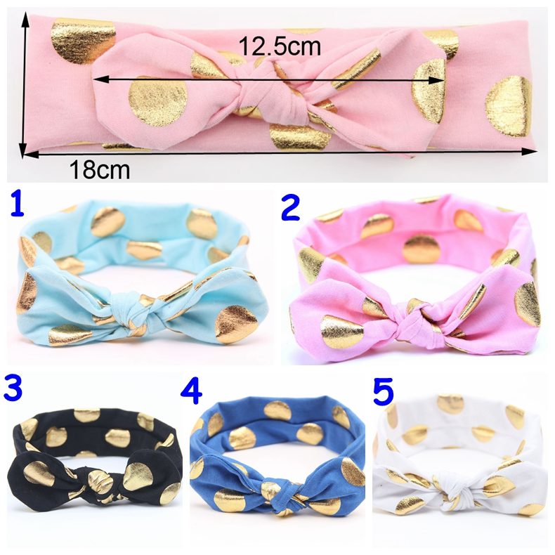 Baby gilding dot Headband infant boy girl solid color head wear 11colos for choose Hair Accessories with Bowknot 0-4T