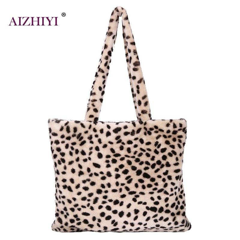 Fashion Women Plush Leopard Print Shoulder Bag Portable Famous Design Female Tote Gilrs Handbag Top-handle Bags Vinter Bag 2018 stylish women s tote bag with clip closure and crocodile print design