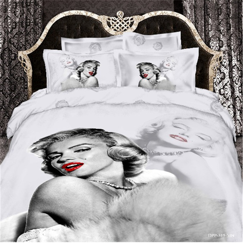 Marilyn Monroe Luxury 3D Bedding Set Bed linen Duvet Quilt Cover Bedclothes Queen King Size - A-ONE Home Textile store