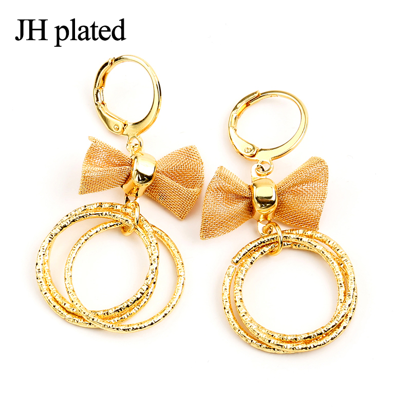 JHplated Ethiopia African jewelery Cute Fashion Lady Gold Color Earrings bowknot round for women and girls the best gift