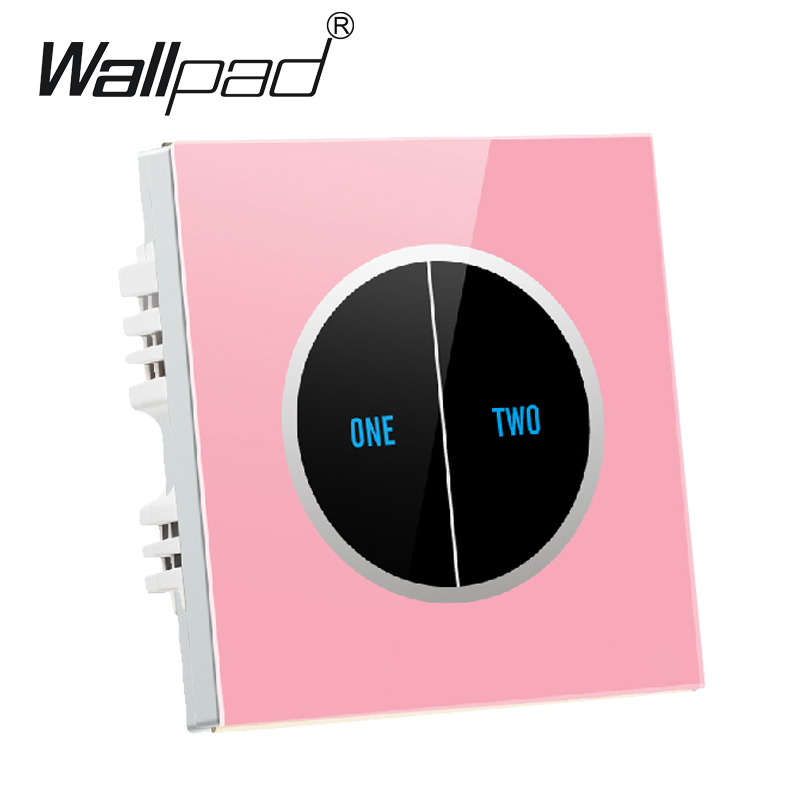 2 gangs 1 way Pink Glass Screen Touch Wall Light Switches Logo Button Design Free 110V~250V micro touch switch,Free Shipping kw11 7 1 micro switches pair ac 250v 16a
