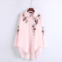 OYK6085 Za Actumn Women Foral Embroideried Pink Blouses Long Shirt Womens Camisa Loose Blusas Bawting Sleeve