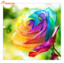 YKXLLW 5d diy diamond painting Colorful roses Golden Butterfly Red Roses rocks gift for child поло red n rocks red n rocks mp002xm1u833